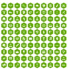 100 victory icons hexagon green vector