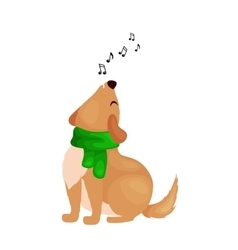 Dog singing christmas songs and jingle bells music vector