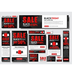 Set of web banner for black friday sales standard vector
