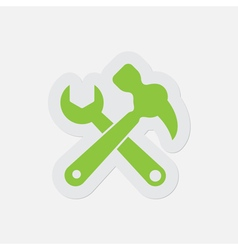 Simple green icon - claw hammer with spanner vector