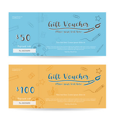 Gift voucher template on blue and yellow vector