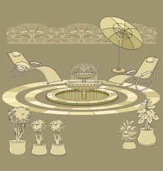 Lounge chair fountain umbrella garden accessory vector