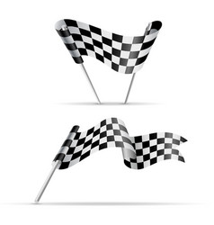 Black and white checkered flags vector