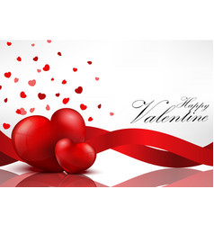 Red heart background with red ribbons vector