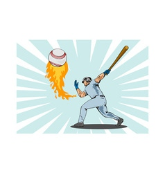Baseball player batting ball flames vector