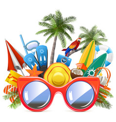 Beach concept with red sunglasses vector