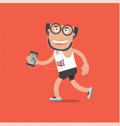 Running man with sport activity tracking vector