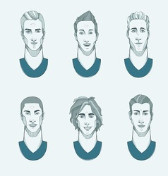 Six man with different races vector