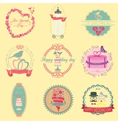 Set of vintage wedding and wedding fashion style vector