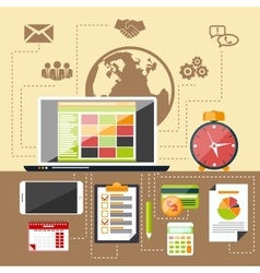 Management objects business and office items vector image