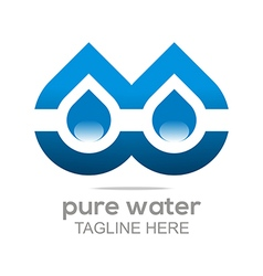 Logo pure water drop symbol icon liquid vector