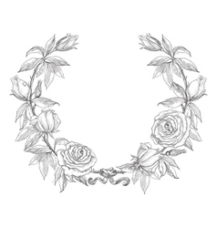 Rose flower wreath vector