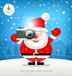 Merry christmas santa claus hand holding camera vector