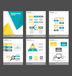 Blue yellow presentation template infographics set vector