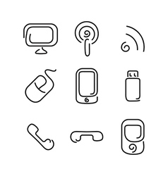 Electronics and mobile set icons vector