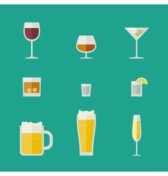 Mugs and glasses icons vector