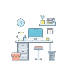 Workspace with computer interior vector