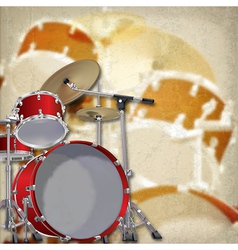 Abstract grunge background with red drum kit on vector