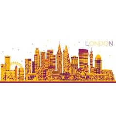 Abstract london skyline with color buildings vector