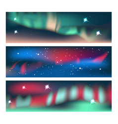 aurora banners set vector image