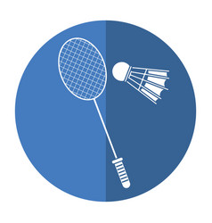 Badminton racket shuttlecock sport shadow vector