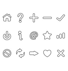 black interface outline icons set vector image vector image