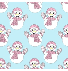 Blue snowman seamless pattern hand drawn christmas vector