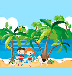 boy and girl relaxing on the beach vector image