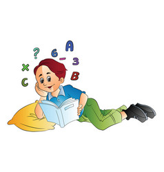 boy studying math vector image