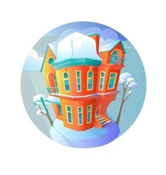 Bright house in the winter-time evening vector