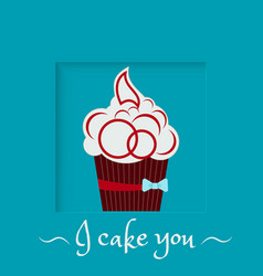Burgundy cake with a bow on a blue background vector