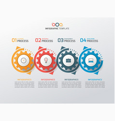 Business infographic template with gears 4 vector
