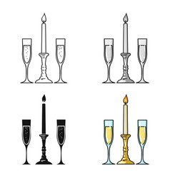 candle between glasses with champagne icon in vector image vector image