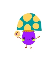 Cartoon mushroom flat mascot icon vector image vector image