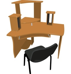 Chair and table for your computer vector image