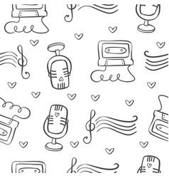 Collection of music theme doodles vector