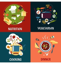 Cooking healthy food flat concept with cuisine vector