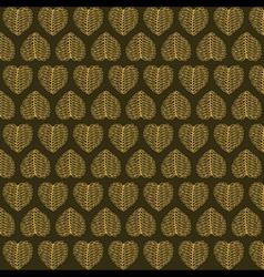 creative valentines golden leaf pattern background vector image