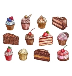 Desserts and sweet cakes sketch icons vector