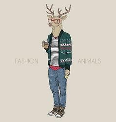 fashion animal deer hipster drinking coffee vector image
