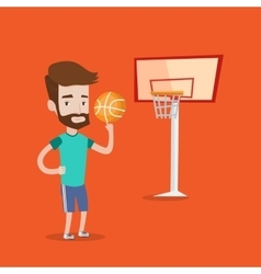 Hipster basketball player spinning ball vector image vector image