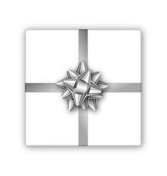 holiday gift box with silver ribbon and bow vector image vector image