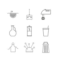 Home appliances linear icon set simple outline vector