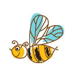 honeybee hand drawn icon isolated vector image