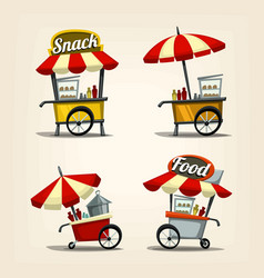 Isolated cartoon street food cart fast food snack vector