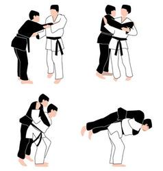 Judo techniques vector image vector image