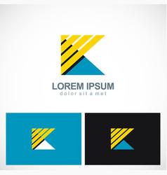 letter k triangle stripe logo vector image