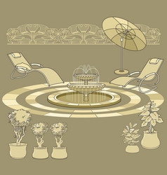lounge chair fountain umbrella garden accessory vector image vector image