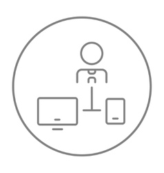 Man linked with computer and phone line icon vector