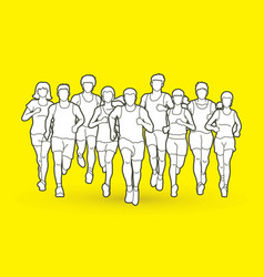 Marathon runners men and women running vector